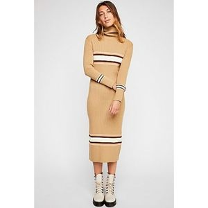 Free People Maxi Ribbed Knit Sweater Dress Stripe